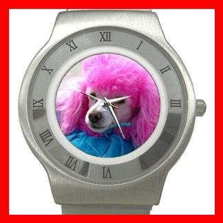 Pink Hair Poodle Dog Pet Stainless Steel Wrist Watch Unisex 050