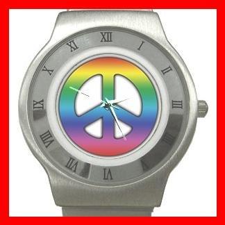 TIE DYE PEACE SIGN Stainless Steel Wrist Watch Unisex 053
