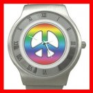TIE DYE PEACE SIGN Stainless Steel Wrist Watch Unisex 053