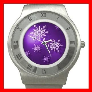 Christmas Purple Snow Flakes Stainless Steel Wrist Watch Unisex 058