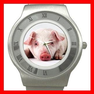 Cute Pig Fortune Animal Stainless Steel Wrist Watch Unisex 064