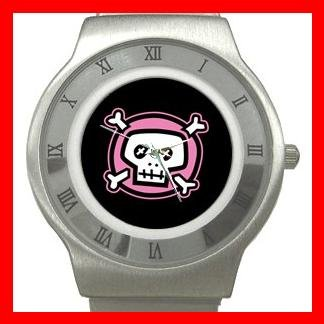 Pink Skull Hobby Fun Cool Stainless Steel Wrist Watch Unisex 067