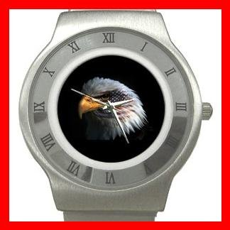 Eagle Eye American Flag Stainless Steel Wrist Watch Unisex 068