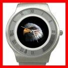 Eagle Eye American Flag Stainless Steel Wrist Watch Unisex 068