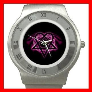 Pink Heartagram Hobby Fun Stainless Steel Wrist Watch Unisex 069