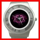 Pink Heartagram Hobby Fun Stainless Steel Wrist Watch Unisex 069