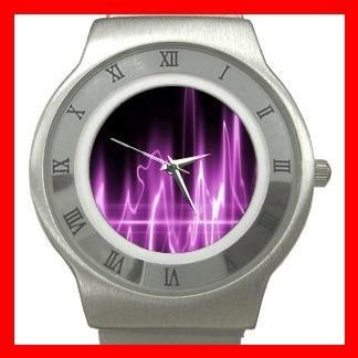 Wave Purple Light Fun Stainless Steel Wrist Watch Unisex 071