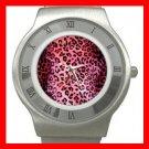 PINK LEOPARD Print Hobby Fun Stainless Steel Wrist Watch Unisex 072