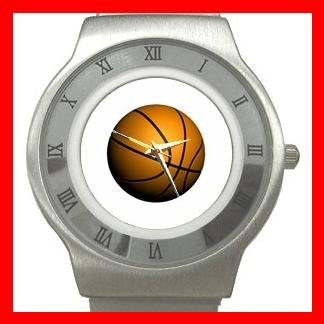 Basketball Ball Sport Game Hobby Fun Stainless Steel Wrist Watch Unisex 073