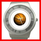 Basketball Ball Sport Game Hobby Fun Stainless Steel Wrist Watch Unisex 073