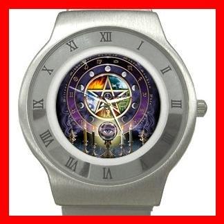 Rare Wicca Pentagram Pentacle Stainless Steel Wrist Watch Unisex 079