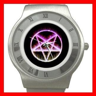 Rare Wicca Pentagram Pentacle Stainless Steel Wrist Watch Unisex 080