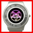 Rare Wicca Pentagram Pentacle Stainless Steel Wrist Watch Unisex 080