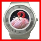 PINK FLAMINGO Bird Stainless Steel Wrist Watch Unisex 084