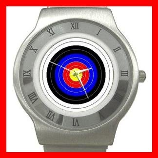 Archery Target Sports Game Stainless Steel Wrist Watch Unisex 087