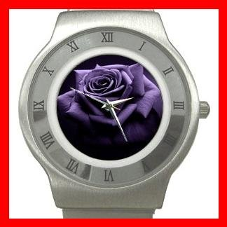 Purple Rose Flowers Stainless Steel Wrist Watch Unisex 092