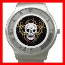 Skull Skeleton Goth Hobby Stainless Steel Wrist Watch Unisex 094