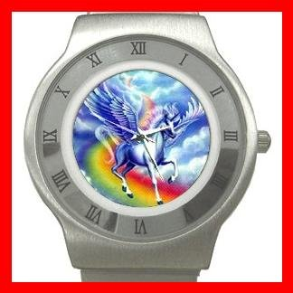 Flying Unicorn Myth Fantasy Stainless Steel Wrist Watch Unisex 102