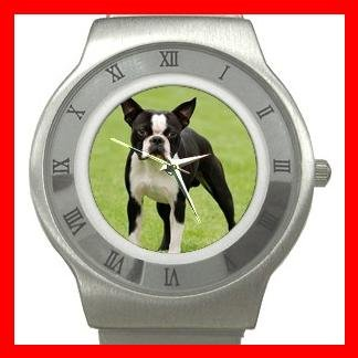 Boston Terrier Dog Pet Animal Stainless Steel Wrist Watch Unisex 103