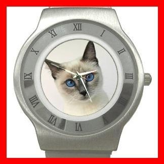 Siamese Cat Pet Animal Stainless Steel Wrist Watch Unisex 109