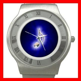 Blue Music Note Magic Stainless Steel Wrist Watch Unisex 110