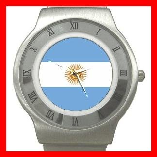New Argentina Flag Patriotic Stainless Steel Wrist Watch Unisex 116