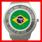 New Brazilian Flag Patriotic Stainless Steel Wrist Watch Unisex 118
