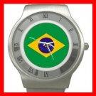 New Brazilian Flag Patriotic Stainless Steel Wrist Watch Unisex 118