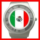 Mexican Flag Patriotic Stainless Steel Wrist Watch Unisex 119