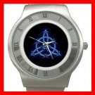 Wicca Pentagram Pagan Blue Stainless Steel Wrist Watch Unisex 131