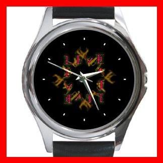 Love Hate Quad Ambigram Metal Wrist Watch Unisex 016