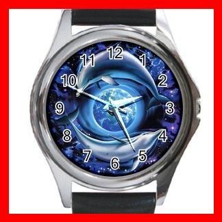 Dolphins Flying Earth Metal Wrist Watch Unisex 021