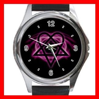 Pink Heartagram Hobby Fun Metal Wrist Watch Unisex 028