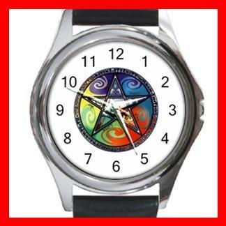 Pentagram Pentacle Rainbow Round Metal Wrist Watch Unisex 037
