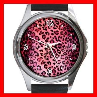 PINK LEOPARD Skin Print Round Metal Wrist Watch Unisex 039