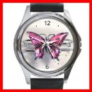 Pink Butterfly Fly Hobby Round Metal Wrist Watch Unisex 041