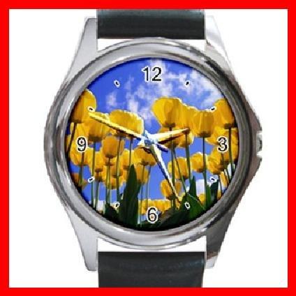 Yellow Tulips Flower Blue Sky Round Metal Wrist Watch Unisex 045