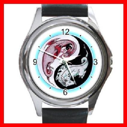 Yin Yang Dragons Myth Round Metal Wrist Watch Unisex 057