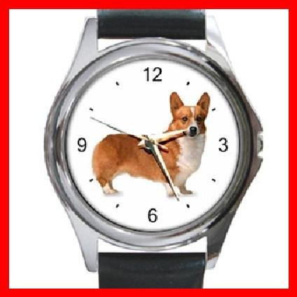 Welsh Corgi Dog Pet Animal Round Metal Wrist Watch Unisex 058
