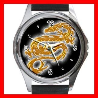 Gold Dragon Myth Hobby Fun Round Metal Wrist Watch Unisex 061