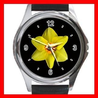 DAFFODIL Yellow Flower Round Metal Wrist Watch Unisex 062