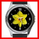 DAFFODIL Yellow Flower Round Metal Wrist Watch Unisex 062