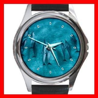 Dolphins Standing Sea Round Metal Wrist Watch Unisex 068