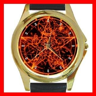 Wicca Pentagram Pentacle Round Metal Wrist Watch Unisex 070
