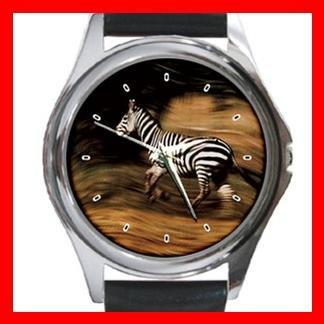 Zebra Horses Animal Round Metal Wrist Watch Unisex 072