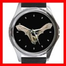 Bat Flying in Dark Round Metal Wrist Watch Unisex 075