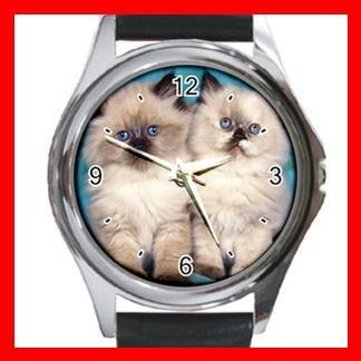 Cute Cats Friendship Pet Round Metal Wrist Watch Unisex 081