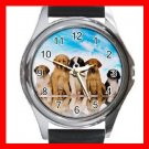 Cute Dogs Blue Sky Round Metal Wrist Watch Unisex 084
