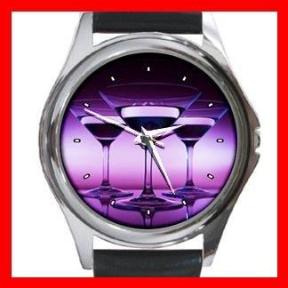 Wine Glass Purple Round Metal Wrist Watch Unisex 086