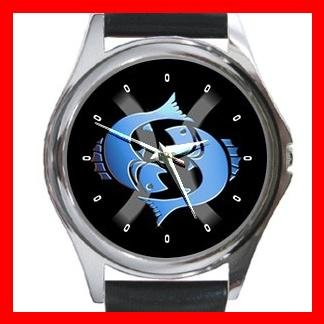 Pisces Zodiac Hobby Round Metal Wrist Watch Unisex 090
